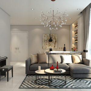 Phòng khách ấn tượng với thảm trải sàn họa tiết hình thoi