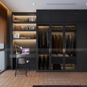 thiết kế nội thất tủ quần áo phòng ngủ căn hộ 3 phòng ngủ Vinhomes