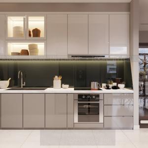 thiết kế nội thất nhà bếp căn hộ 3 phòng ngủ Vinhomes
