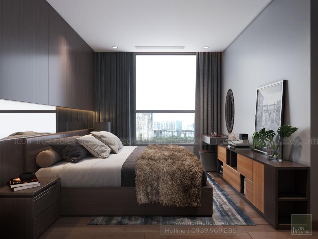 thiết kế nội thất phòng ngủ căn hộ 3 phòng ngủ Vinhomes