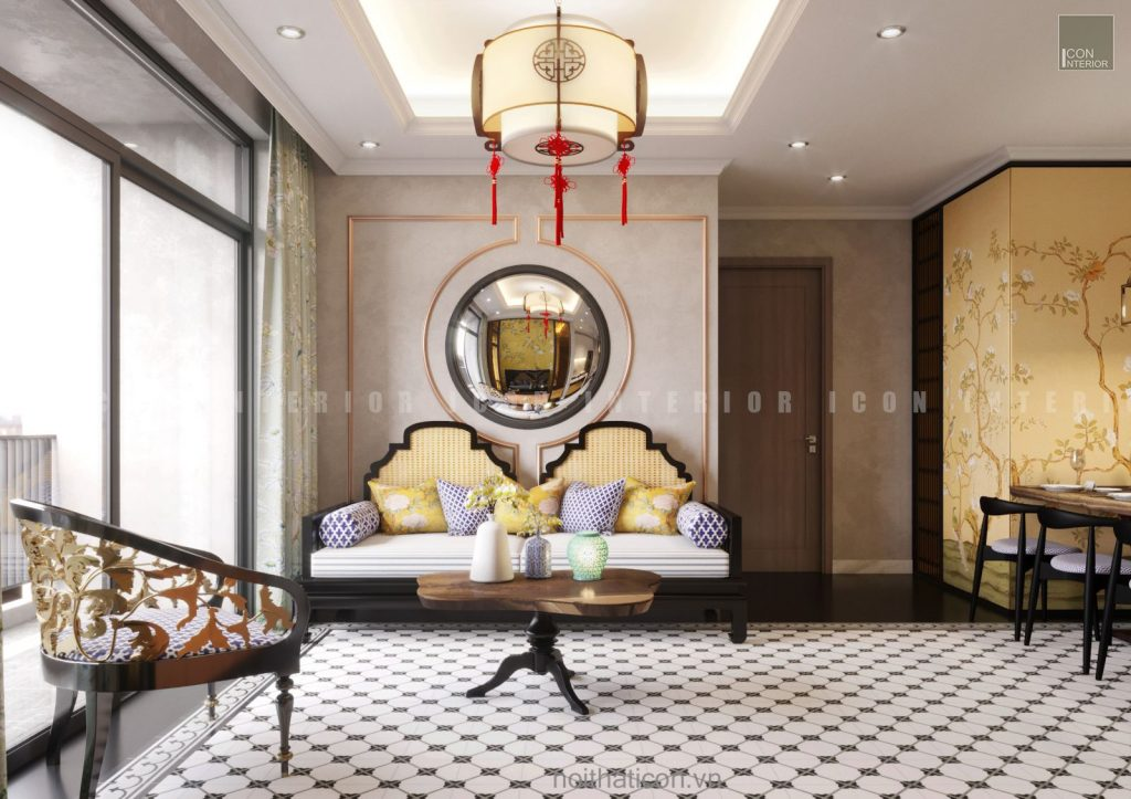 thiết kế nội thất phòng khách trung hoa