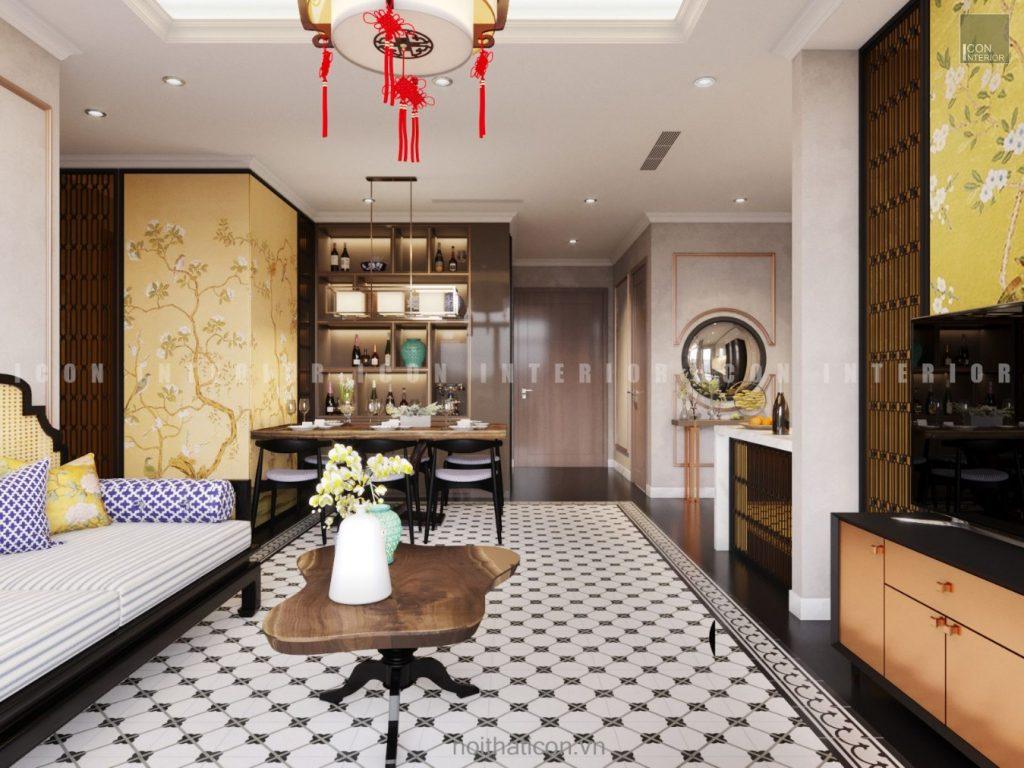 thiết kế nội thất phòng khách bếp căn hộ nhỏ