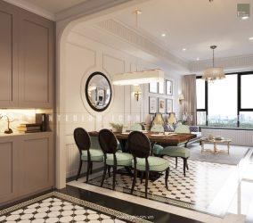 thiết kế nội thất gia đình phòng khách bếp