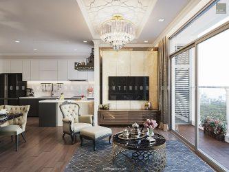 thiết kế nội thất phòng khách bếp tân cổ điển