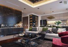 thiết kế nội thất phòng khách căn hộ vinhomes golden river