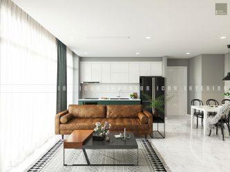 thiết kế nội thất phòng khách căn hộ vinhomes ba son