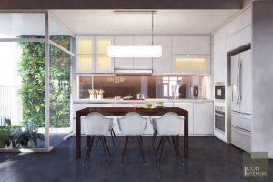 Thiết kế nội thất căn hộ Tropic Garden - phòng khách bếp 3