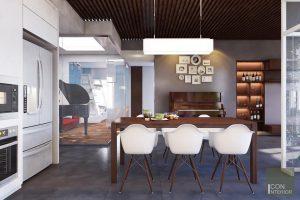 Thiết kế nội thất căn hộ Tropic Garden - phòng khách bếp 2