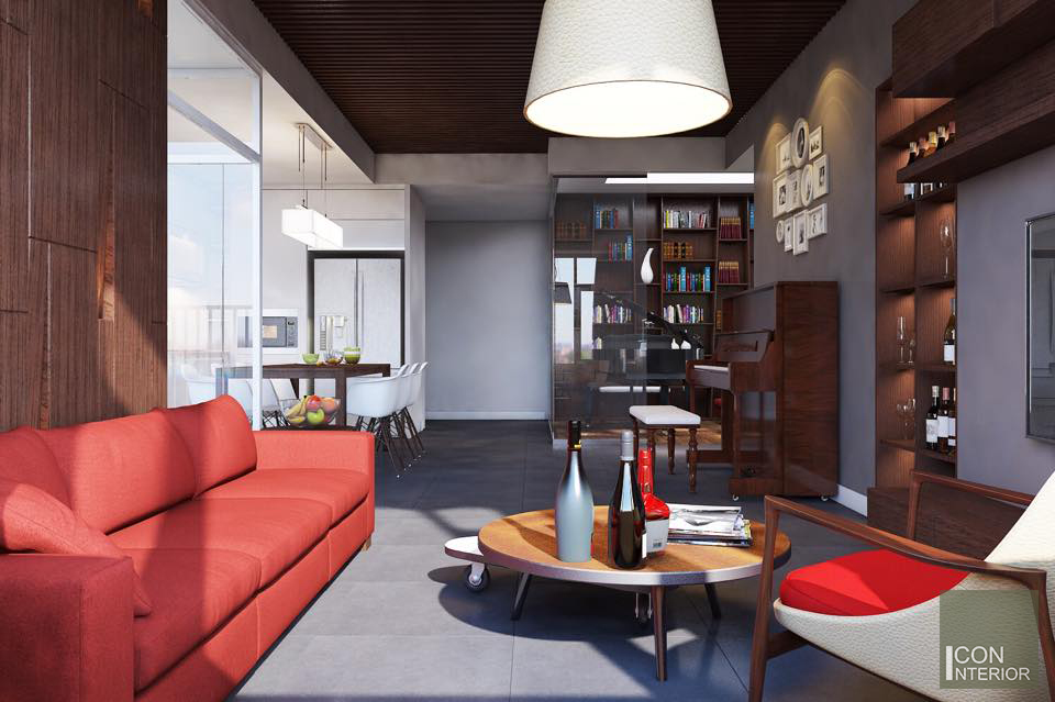 Thiết kế nội thất căn hộ Tropic Garden - phòng khách bếp 4