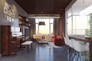 Thiết kế nội thất căn hộ Tropic Garden - phòng khách bếp 1