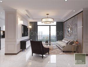 thiết kế nội thất căn hộ vinhomes central park phòng khách