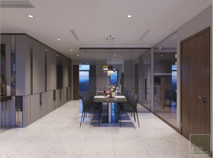 thiết kế nội thất phòng ăn vinhomes central park landmark 1