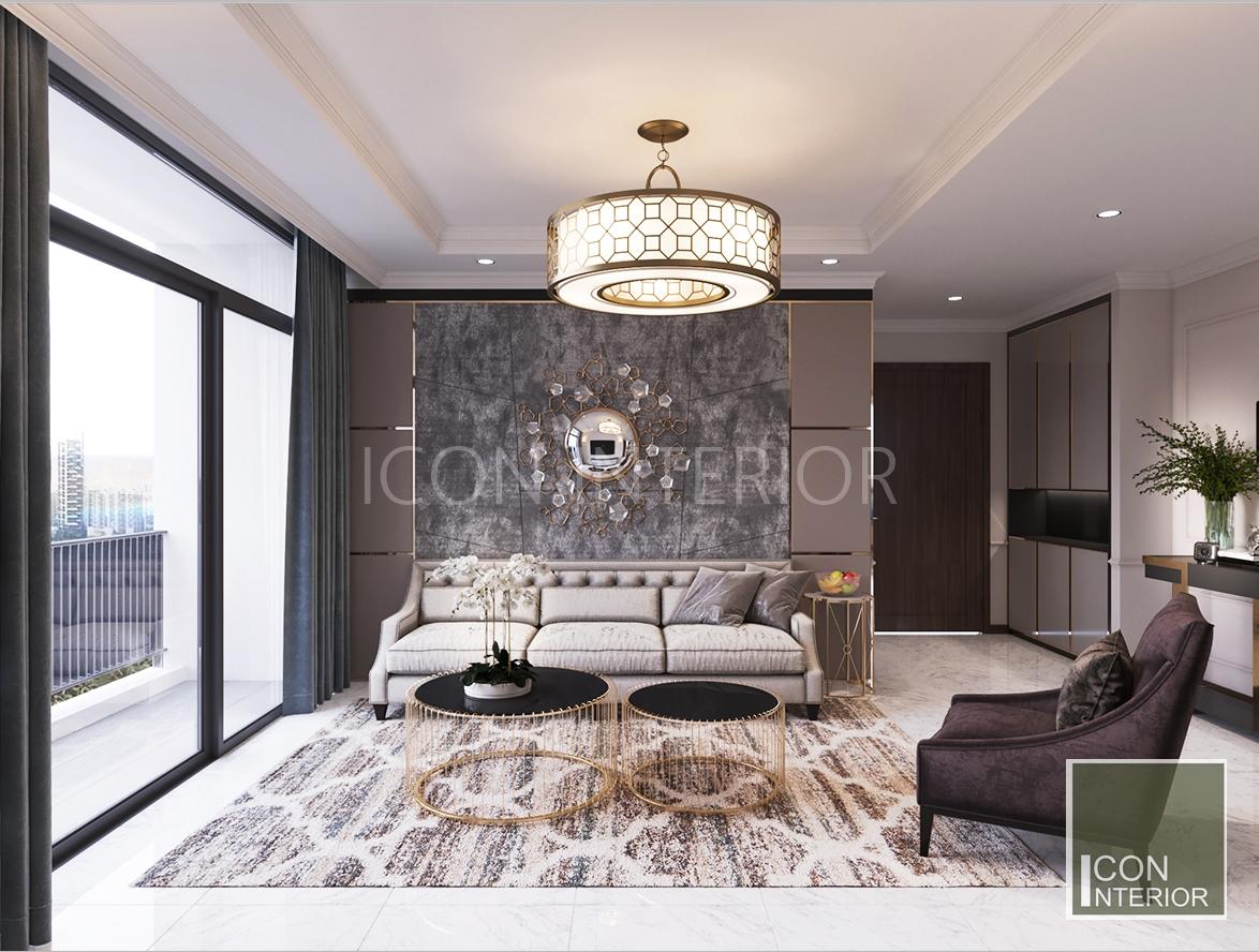 thiết kế nội thất căn hộ vinhomes central park - phòng khách