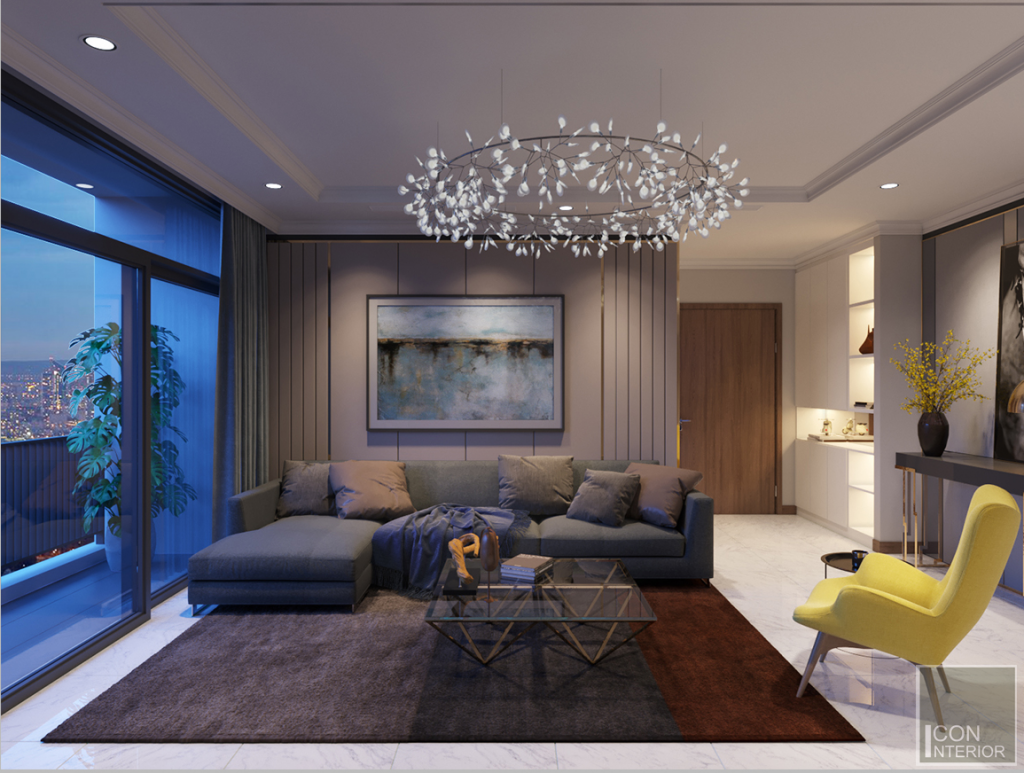 thiết kế nội thất phòng khách vinhomes central park landmark 1