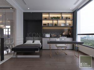 thiết kế nội thất căn hộ vinhomes central park - giường thông minh