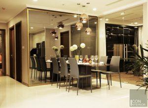 thi công nội thất căn hộ hiện đại - phòng khách bếp 6