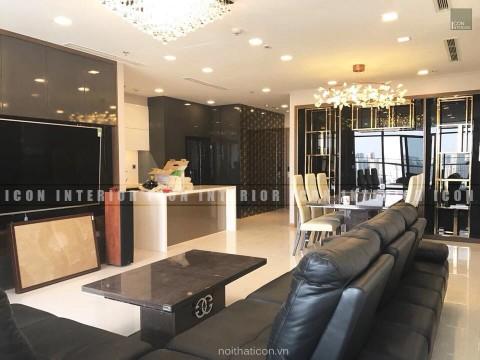 thi công nội thất căn hộ 4 phòng ngủ - phòng khách bếp