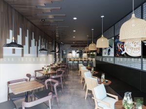 thiết kế nội thất quán cafe đẹp tầng 1