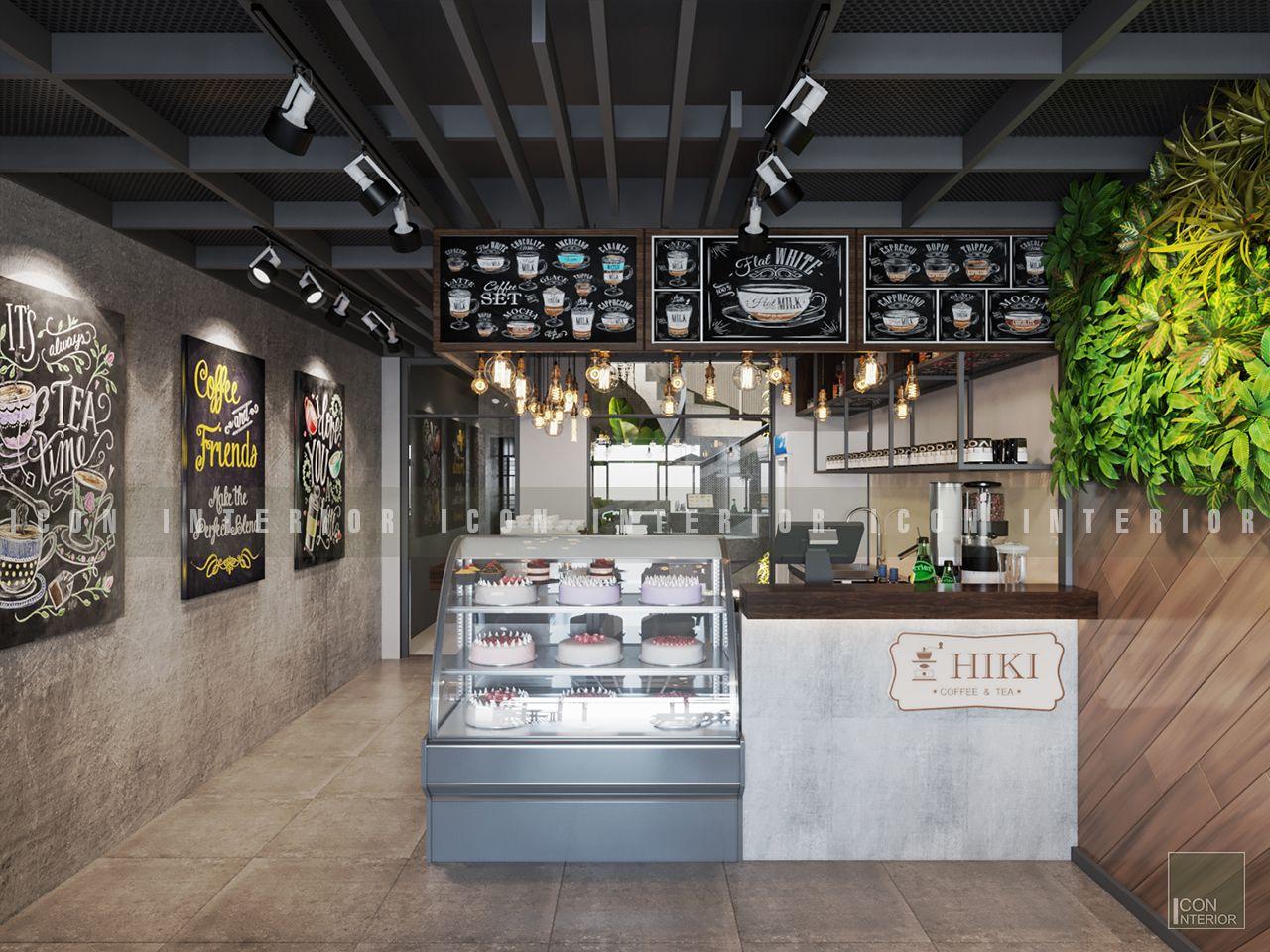 thiết kế nội thất quán cafe đẹp quầy thu ngân