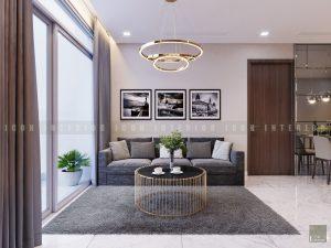 thiết kế nội thất phòng khách bếp chung cư