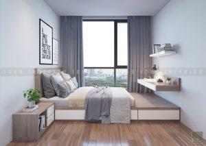 Thiết kế nội thất đơn giản khiến không gian phòng ngủ nhỏ thêm rộng rãi