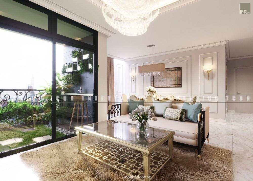 thiết kế nội thất chung cư tân cổ điển phòng khách
