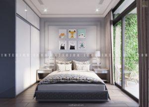 thiết kế nội thất chung cư tân cổ điển phòng ngủ nhỏ