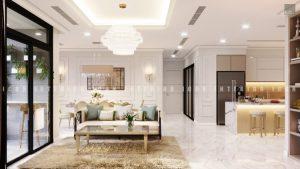 thiết kế nội thất chung cư tân cổ điển - phòng khách
