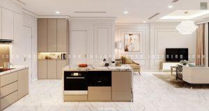 thiết kế nội thất chung cư tân cổ điển - đảo bếp