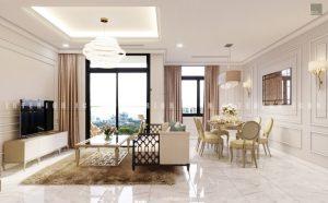 thiết kế nội thất chung cư tân cổ điển - khách bếp