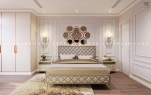 thiết kế nội thất chung cư tân cổ điển phòng ngủ master