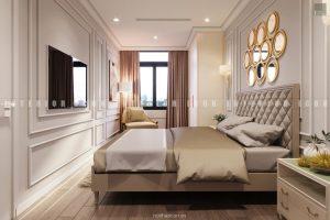 thiết kế nội thất chung cư tân cổ điển - phòng ngủ master