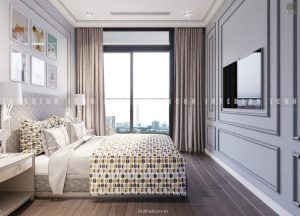 thiết kế nội thất chung cư tân cổ điển - phòng ngủ nhỏ