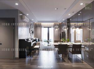 dự án the gold view quận 4 - thiết kế phòng khách bếp