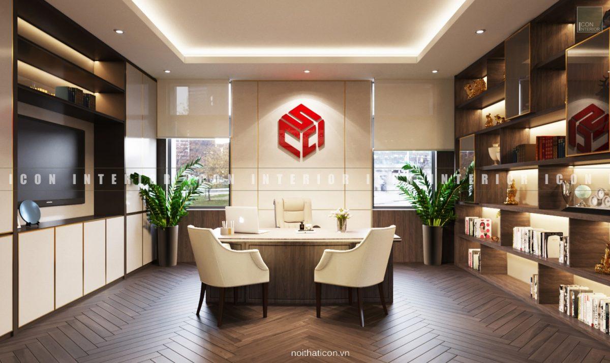 thiết kế nội thất văn phòng tphcm - phòng chủ tịch ảnh 1