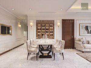thiết kế nội thất phòng ăn căn hộ chung cư đẹp