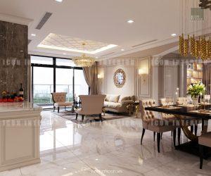 căn hộ cao cấp vinhomes central park phòng khách bếp
