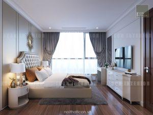 thiết kế nội thất phòng ngủ master căn hộ chung cư đẹp