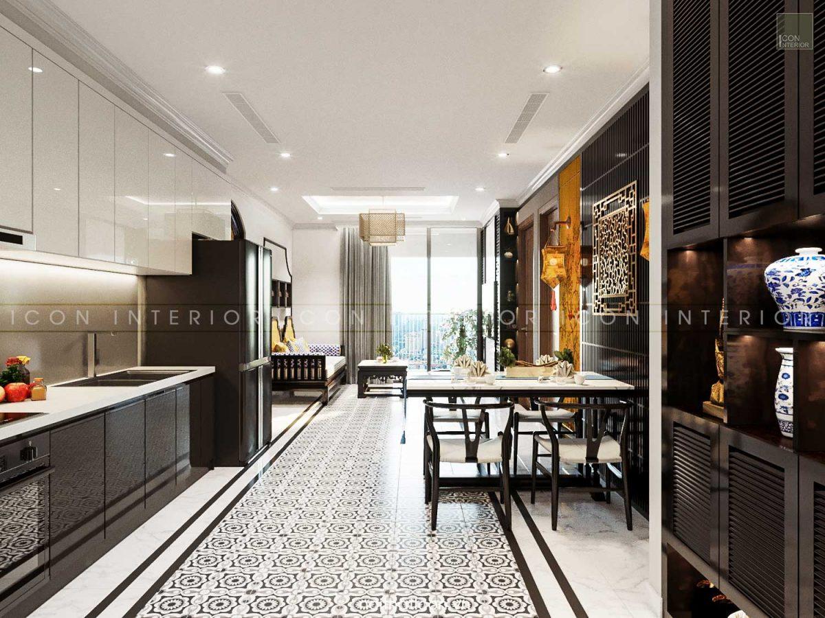 Thiết kế nội thất chung cư 70m2 Landmark 3 - phòng khách