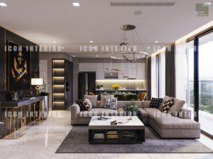 thiết kế phòng khách vinhomes ba son golden river