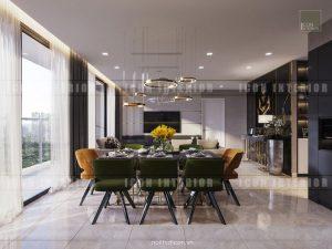 thiết kế khách bếp vinhomes ba son golden river
