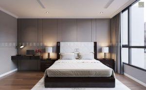 thiết kế phòng ngủ master căn hộ Vinhomes Central Park