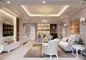 thiết kế nội thất tân cổ điển phòng khách bếp