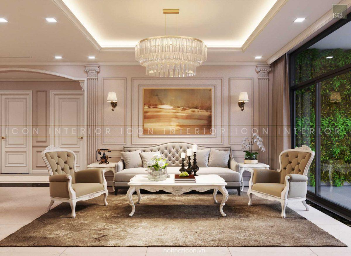 thiết kế nội thất tân cổ điển phòng khách