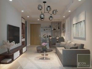 thiết kế nội thất phòng khách căn hộ masteri