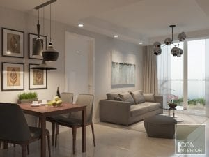thiết kế nội thất phòng khách bếp căn hộ masteri