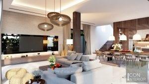 thiết kế nội thất biệt thự lucasta phòng khách