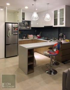 thi công nội thất thực tế masteri - phòng bếp