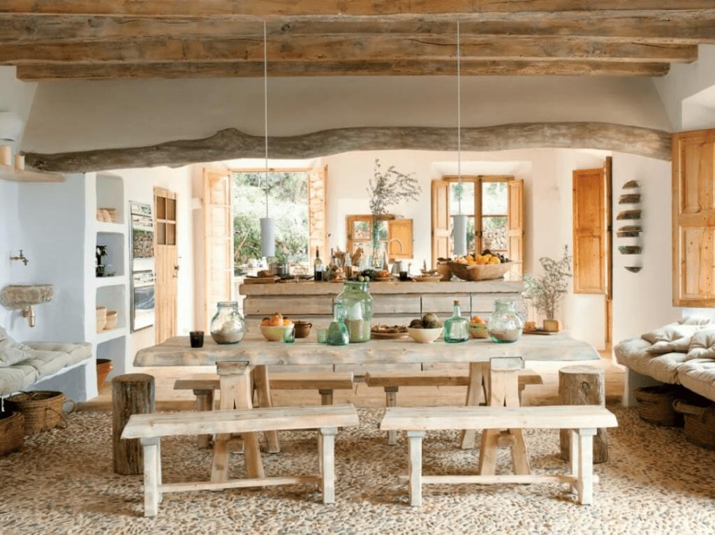 Phong cách nhà ở Rustic với vật liệu gỗ