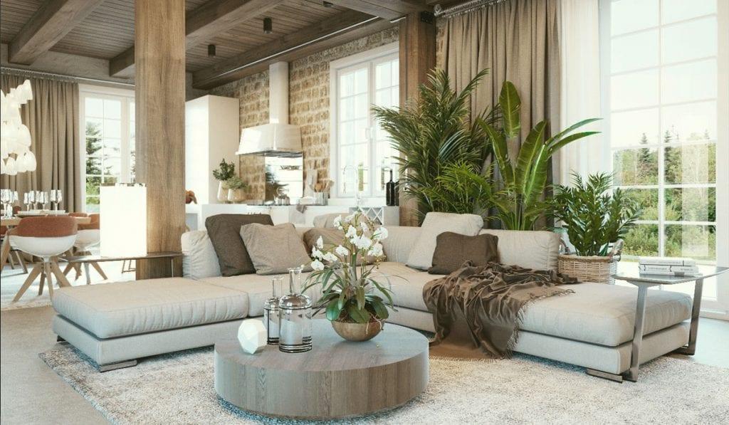 Bộ sofa đẹp giản dị với chất liệu vải thô, gần gũi thiên nhiên